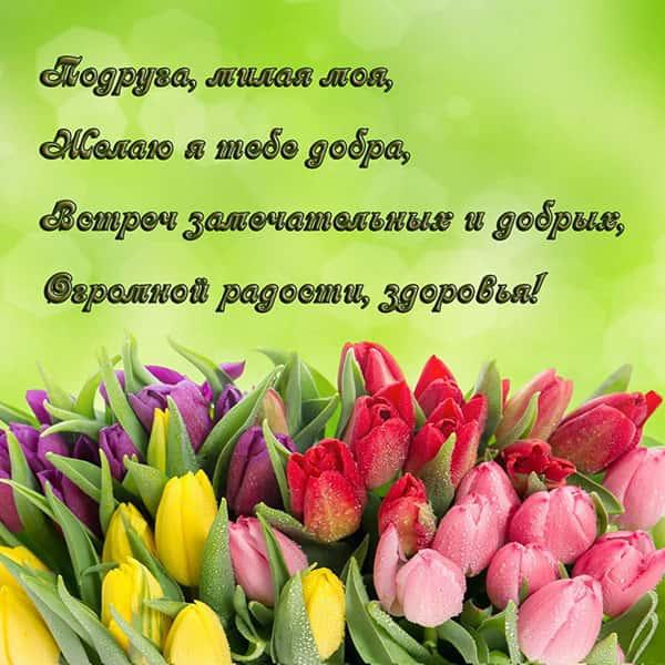 подруга милая моя открытка с тюльпанами