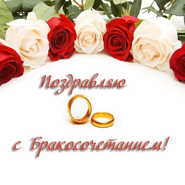 поздравляю с бракосочетанием, белые и красные розы, кольца